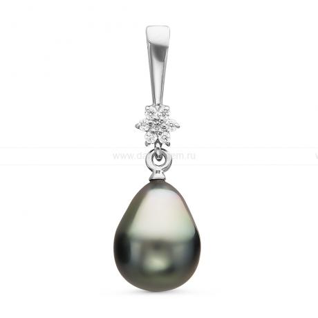 Кулон из серебра с черной Таитянской жемчужиной 9-9,5 мм. Артикул 10701