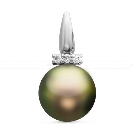 Кулон из серебра с черной Таитянской жемчужиной 8,6-8,9 мм. Артикул 10703