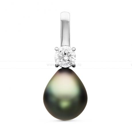 Кулон из серебра с черной Таитянской жемчужиной 10-10,5 мм. Артикул 10704