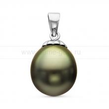 Кулон из серебра с черной Таитянской жемчужиной 9,6-9,9 мм. Артикул 10705