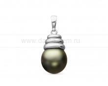 Кулон из серебра с черной Таитянской жемчужиной 10-10,5 мм. Артикул 10706