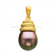 Кулон из серебра с черной Таитянской жемчужиной 10-10,5 мм. Артикул 10707