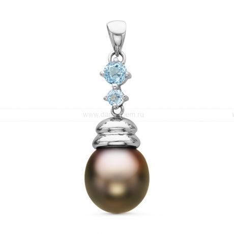 Кулон из серебра с черной Таитянской жемчужиной 11-11,5 мм. Артикул 10708