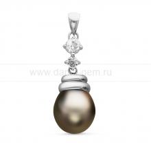 Кулон из серебра с черной Таитянской жемчужиной 11-11,5 мм. Артикул 10709