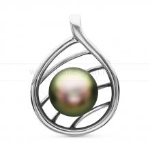 Кулон из серебра с черной Таитянской жемчужиной 10-11 мм. Артикул 10710