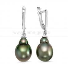 Серьги из серебра с Таитянскими жемчужинами 10-11 мм. Артикул 10714