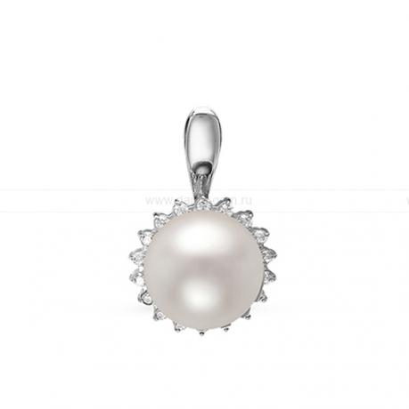 Кулон из серебра с белой жемчужиной 9,5-10 мм. Артикул 10717