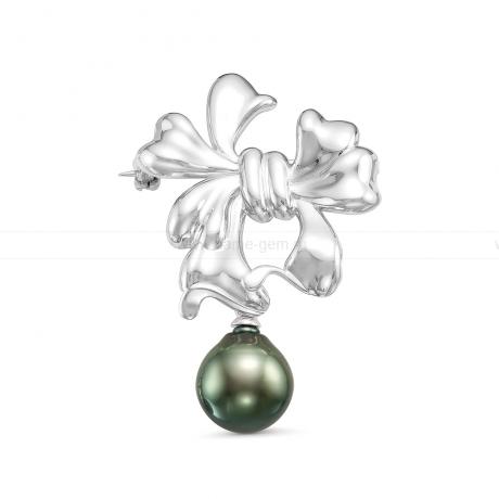 Брошь из серебра с черной Таитянской жемчужиной 11-11,5 мм. Артикул 10730