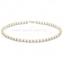 Ожерелье из белого речного жемчуга со стразами 6-6,5 мм. Артикул 10749