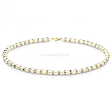 Ожерелье со стразами из белого круглого речного жемчуга 6-6,5 мм. Артикул 10749