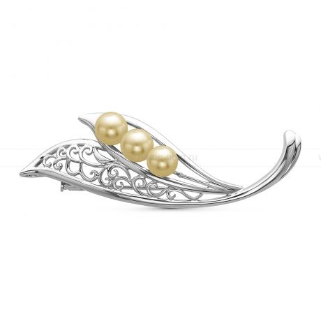 Брошь из серебра с золотистыми морскими жемчужинами Акойя 7,5-7,7 мм. Артикул 10758