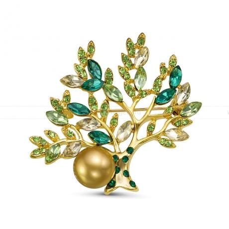 Брошь из серебра с золотистой морской Австралийской жемчужиной 10,6-10,9 мм. Артикул 10759