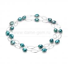 Колье из серебра с голубыми барочными жемчужинами. Артикул 10763