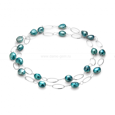 Колье из серебра с голубыми барочными жемчужинами 12-12,5 мм. Артикул 10763