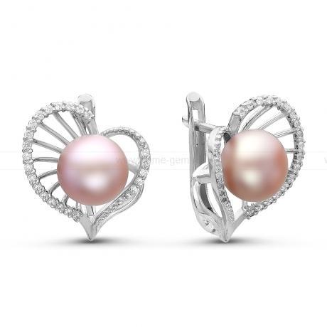 Серьги из серебра с розовыми жемчужинами 7,5-8 мм. Артикул 10769