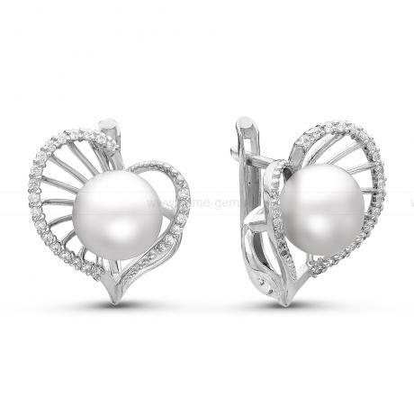 Серьги из серебра с белыми жемчужинами. Артикул 10770