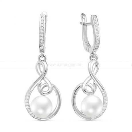 Серьги из серебра с белыми жемчужинами 8-8,5 мм. Артикул 10773
