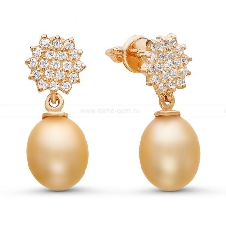 Серьги с золотистыми жемчужинами. Артикул 10774