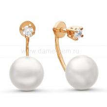 """Двойные пусеты """"Dior"""" с белым жемчугом. Артикул 10778"""