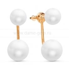 """Двойные пусеты """"Dior"""" с белым жемчугом. Артикул 10780"""