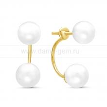 """Двойные пусеты """"Dior"""" с белым жемчугом. Артикул 10785"""