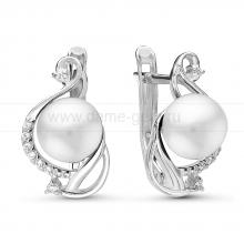 Серьги из серебра с белыми жемчужинами. Артикул 10790
