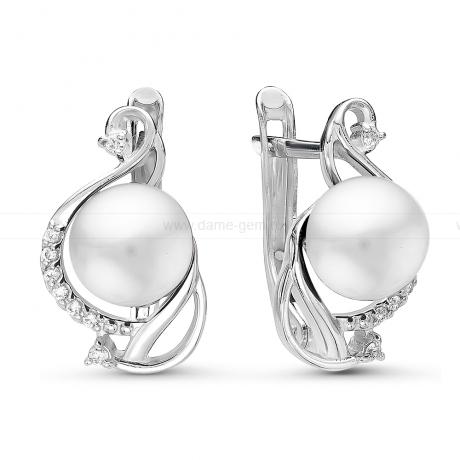 Серьги из серебра с белыми жемчужинами 7-7,5 мм. Артикул 10790