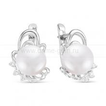 Серьги из серебра с белыми жемчужинами 8-8,5 мм. Артикул 10805