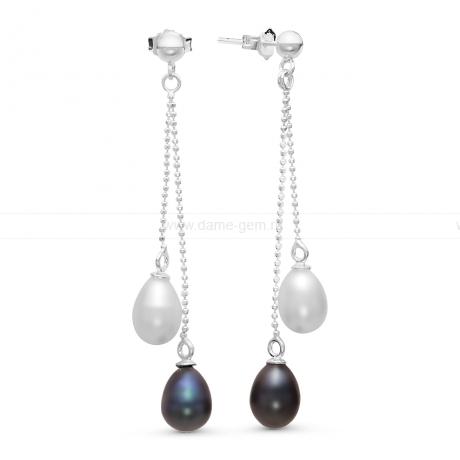 Серьги из серебра с черными и белыми жемчужинами 7,5-8 мм. Артикул 10807