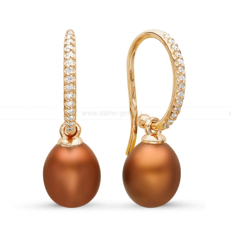 Серьги из серебра с шоколадными жемчужинами 8,5-9 мм. Артикул 10809