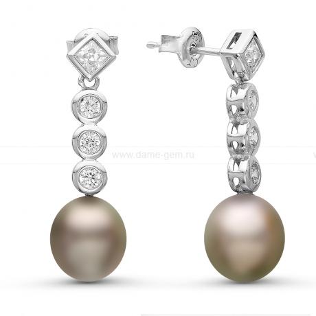 Серьги из серебра с Таитянскими жемчужинами 9-9,5 мм. Артикул 10815