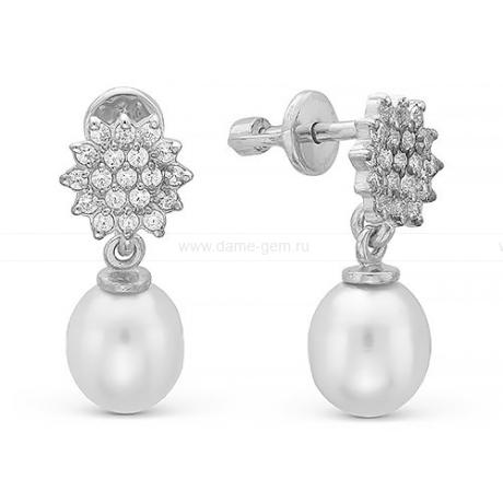 Серьги из серебра с белыми жемчужинами 9-9,5 мм. Артикул 10818