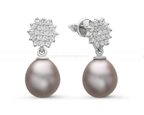 Серьги из серебра с серыми жемчужинами 8,5-9 мм. Артикул 10823