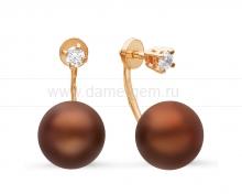 """Двойные пусеты """"Dior"""" с шоколадным жемчугом. Артикул 10824"""