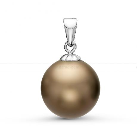 Кулон из белого золота с шоколадной Таитянской жемчужиной 11-11,5 мм. Артикул 10837