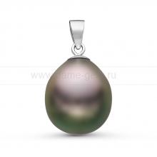 Кулон золотой с черной Таитянской жемчужиной. Артикул 10839