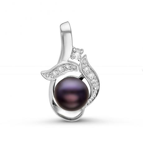 Кулон из серебра с черной речной жемчужиной 7-7,5 мм. Артикул 10843