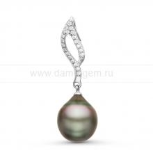 Кулон из серебра с черной Таитянской жемчужиной 10,6-10,9 мм. Артикул 10847