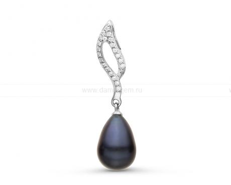 Кулон из серебра с черной речной жемчужиной 7,5-8 мм. Артикул 10850