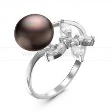 Кольцо из серебра с черной речной жемчужиной. Артикул 10853