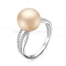 Кольцо из серебра с розовой жемчужиной 10,5-11,5 мм. Артикул 10855