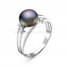 Кольцо из серебра с черной речной жемчужиной. Артикул 10856