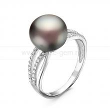Кольцо из серебра с черной жемчужиной 10-11 мм. Артикул 10857