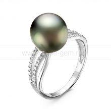 Кольцо из серебра с Таитянской морской жемчужиной 10-11 мм. Артикул 10858