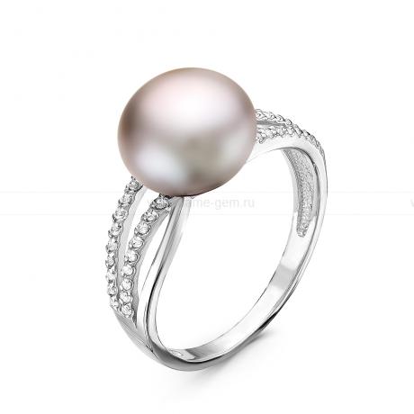 Кольцо из серебра с серебристой речной жемчужиной 10-10,5 мм. Артикул 10859