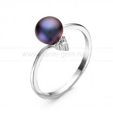 Кольцо из серебра с черной жемчужиной 7-7,5 мм. Артикул 10860