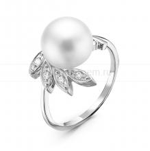 Кольцо из серебра с белой жемчужиной 9-9,5 мм. Артикул 10861