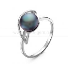Кольцо из серебра с черной жемчужиной 7,5-8 мм. Артикул 10862