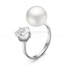 """Двойное кольцо """"Dior"""" с белой жемчужиной 9,5-10 мм. Артикул 10865"""