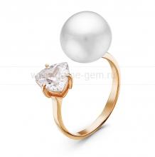 """Двойное кольцо """"Dior"""" с белой жемчужиной 9,5-10 мм. Артикул 10866"""
